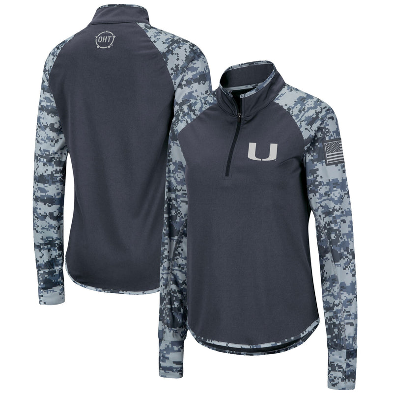 Miami Hurricanes Colosseum OHT Women's 1/4 Zip Digi Camo Shirt - Charcoal
