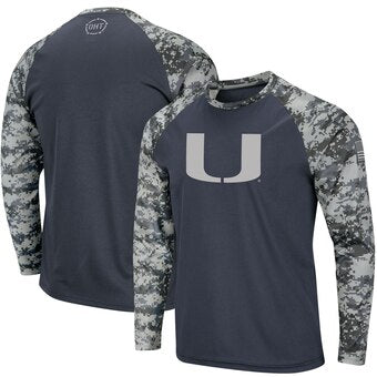 Miami Hurricanes Colosseum OHT Youth L/S Raglan Digi Camo T-Shirt - Charcoal