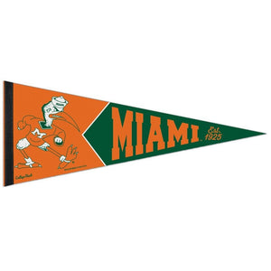 Miami Hurricanes Pennant Vintage Ibis Roll it - CanesWear at Miami FanWear Accessories Wincraft CanesWear at Miami FanWear