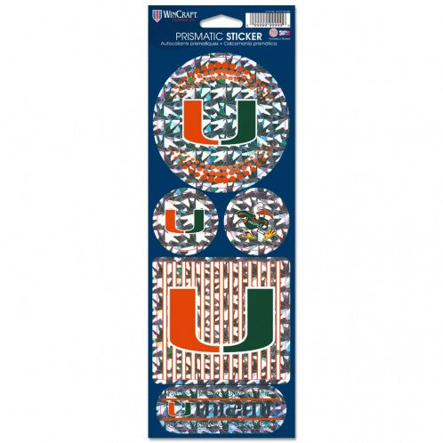 Miami Hurricanes Prismatic Stickers