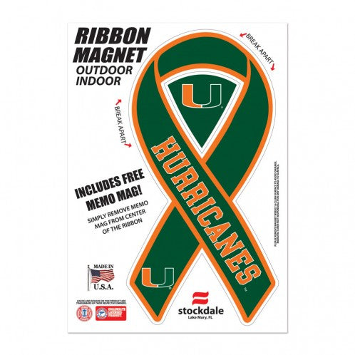 Miami Hurricanes Ribbon Magnet - 5