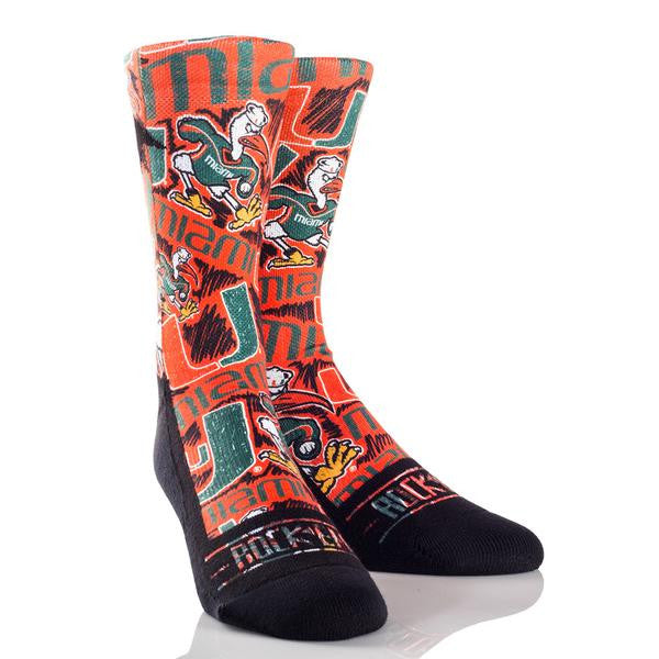 Miami Hurricanes Rock'em All Over Sketch - Orange - CanesWear at Miami FanWear Footwear & Socks Rock'em CanesWear at Miami FanWear