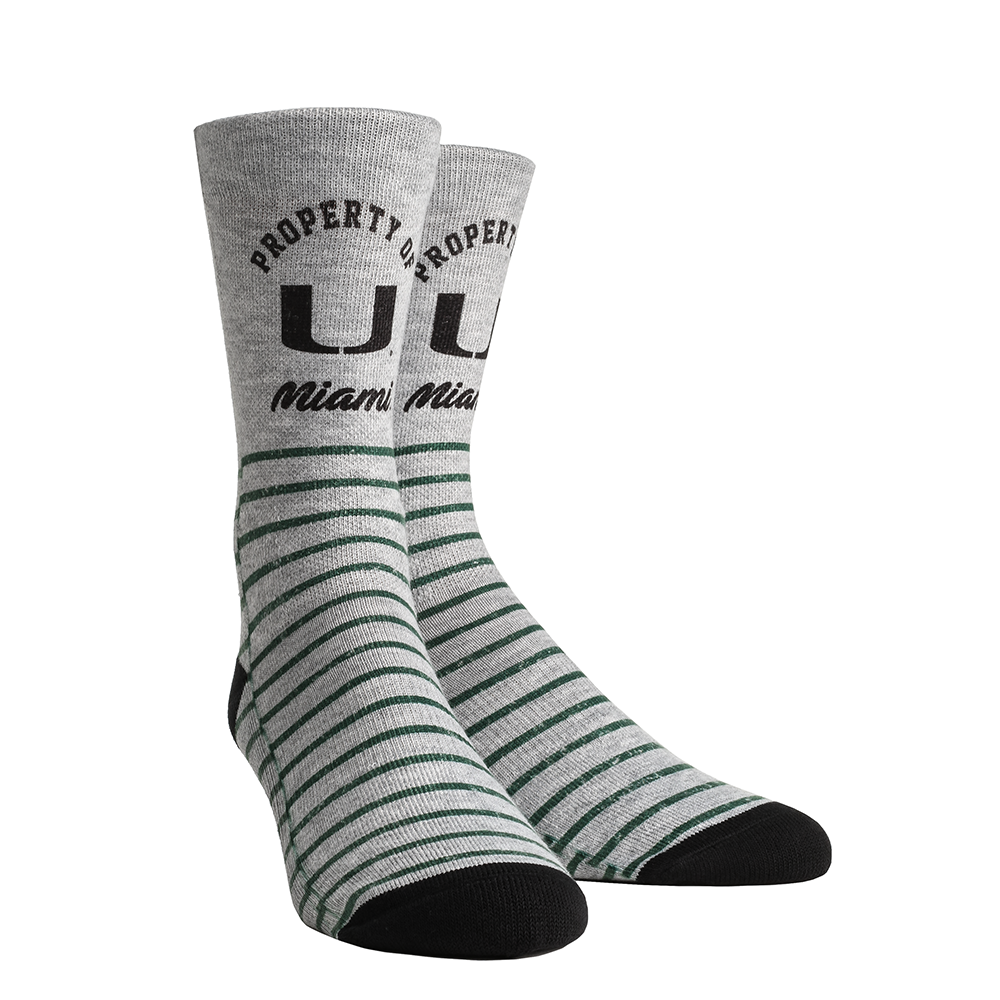 Miami Hurricanes Rock'em Property of Heather Crew Socks