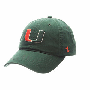 Miami Hurricanes U Dark Forest Washed Adjustable Slouch Hat - Green