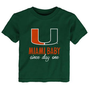 Miami Hurricanes Toddler Miami Baby Since Day One T-Shirt - Green