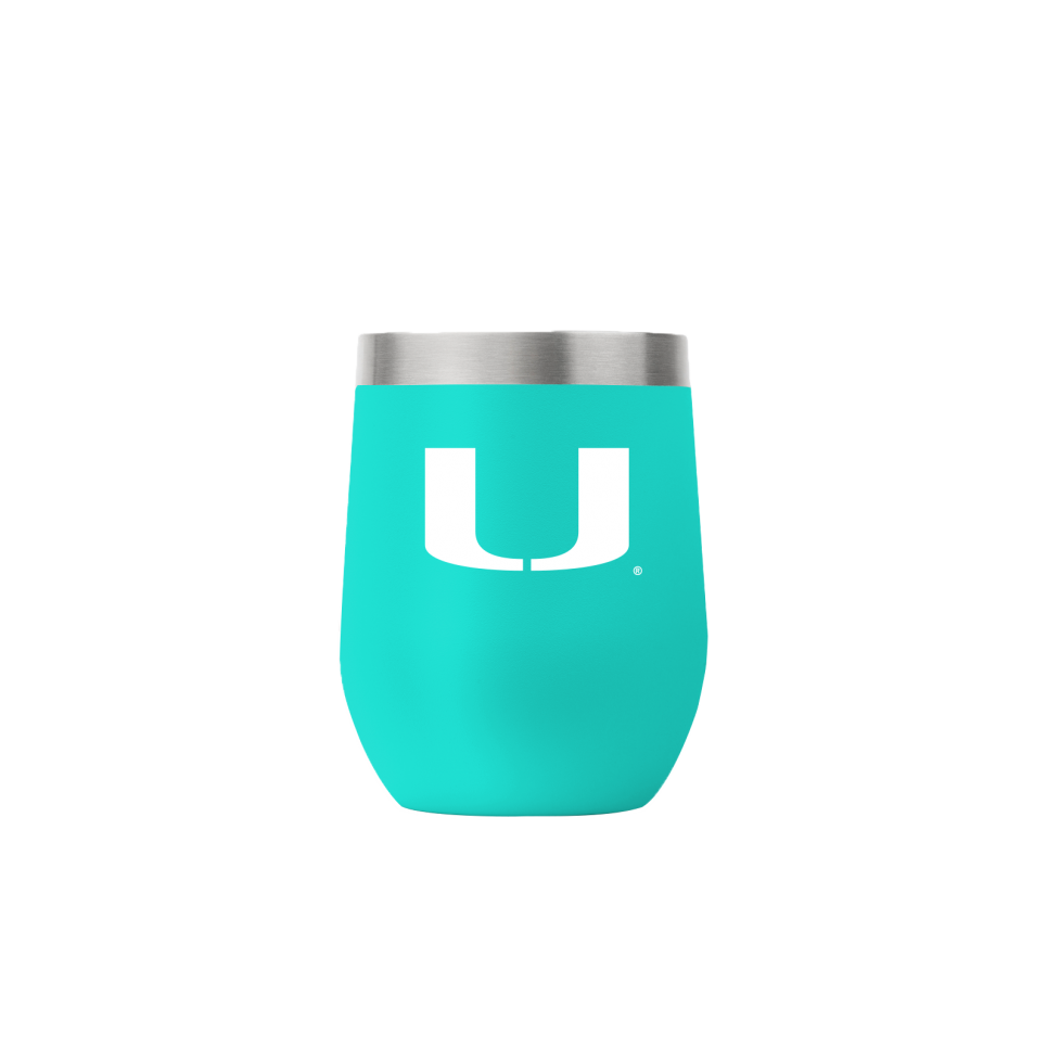 Miami Hurricanes Gametime Sidekicks Stemless Wine 12 oz Tumbler - Teal