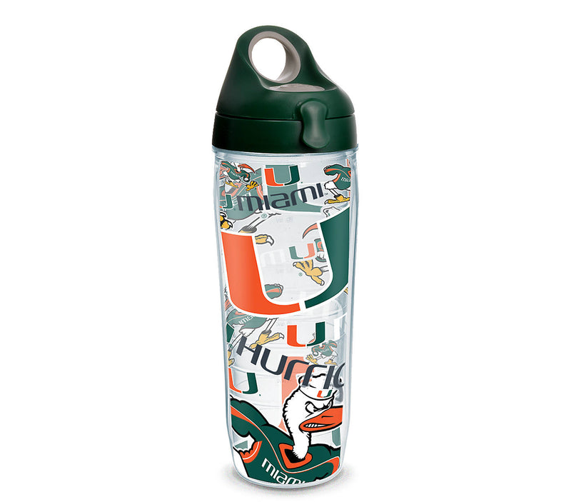 Miami Hurricanes 24 OZ Tervis Water Bottle  - All Over Design