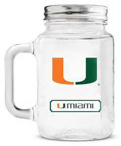 Miami Hurricanes 20oz Mason Jar with Glass Handle - CanesWear at Miami FanWear Drinkware Casey's Distribution CanesWear at Miami FanWear