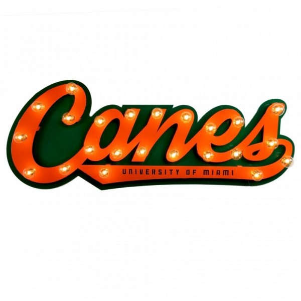 Miami Hurricanes 3D Lit Script Sign