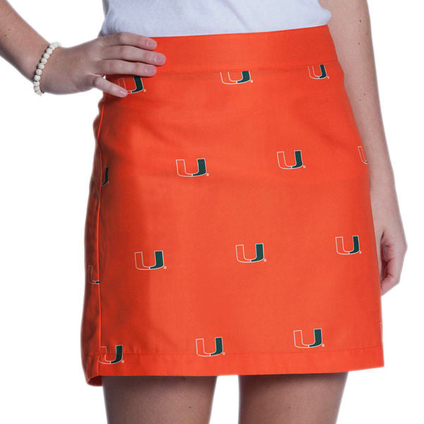 Miami Hurricanes Women's Ovation All Over Print - Game Changer Zip Skirt - Orange