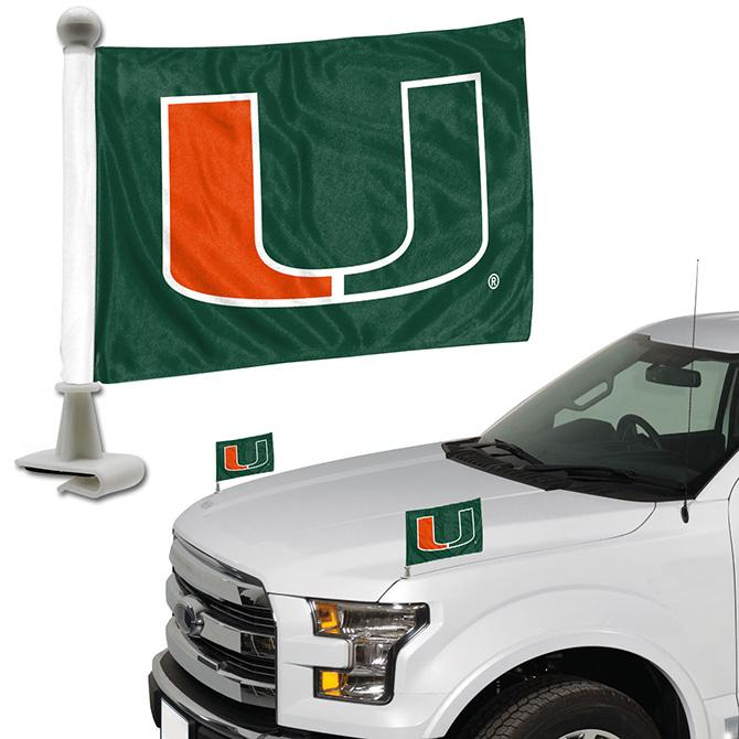 Miami Hurricanes Team Ambassador Hood / Trunk Car Flag - Set of 2