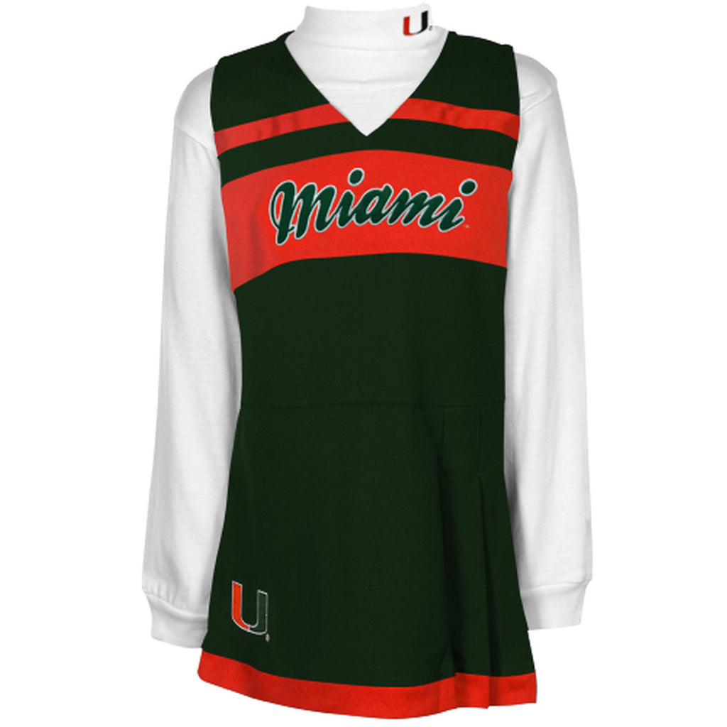 Miami Hurricanes Girl's Cheerleader Jumper & Turtleneck Set - CanesWear at Miami FanWear Kid's Apparel Adidas Group CanesWear at Miami FanWear