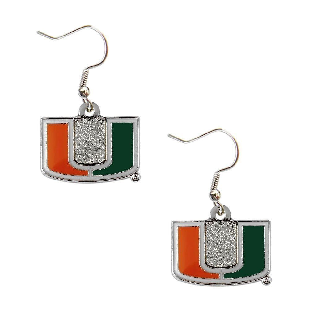 Miami Hurricanes U Logo  Dangler Earrings