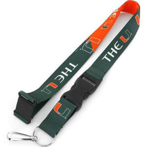 Miami Hurricanes Reversible Lanyard The U - Green/Orange