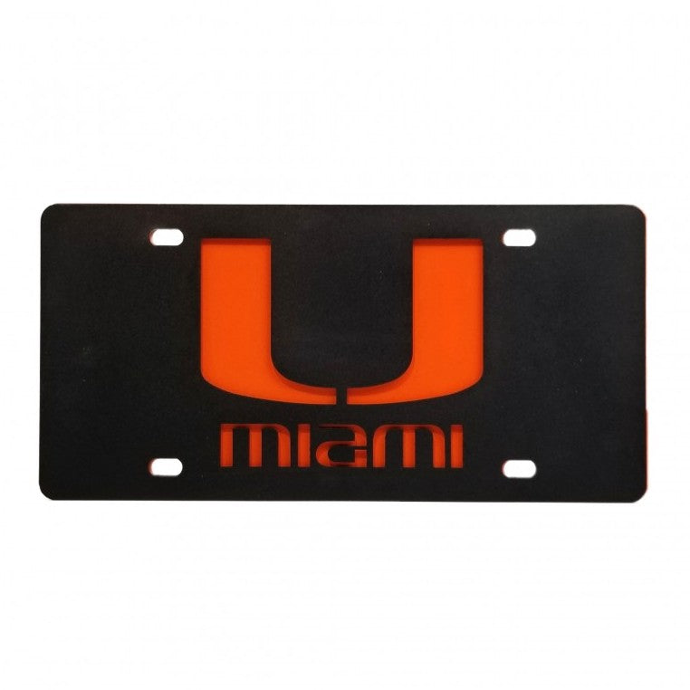 Miami Hurricanes Metal U License Plate Tag - Black