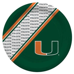 "Miami Hurricanes Disposable 9.75"" Paper Plates - 20 Pack - CanesWear at Miami FanWear Tailgate Gear Duck House CanesWear at Miami FanWear"