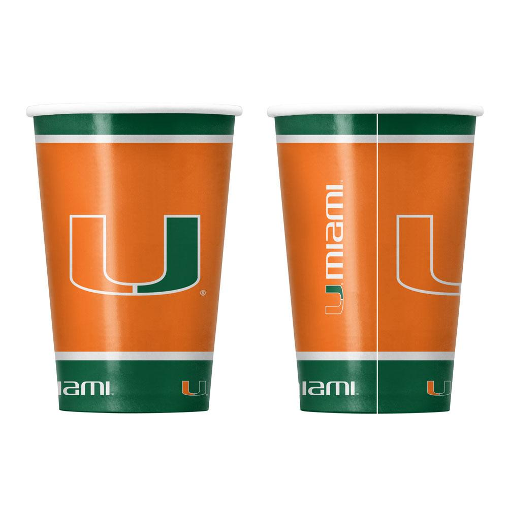 Miami Hurricanes Partyware Paper 16oz Cups - Pack of 20