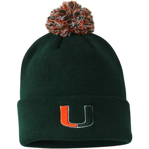 Miami Hurricanes Pom Pom Knit Cuffed Beanie - Green