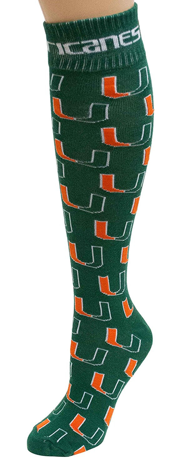 Miami Hurricanes Repeating Logo Dress Socks