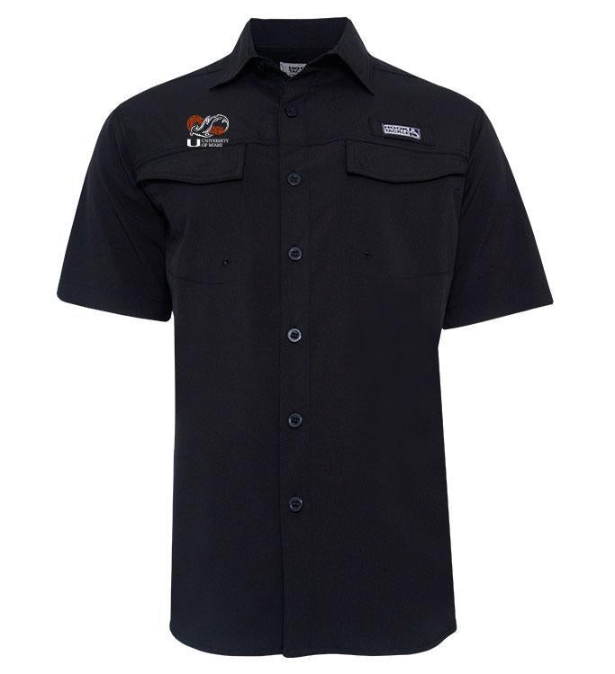 Miami Hurricanes Shark Research Coastline S/S Fishing Shirt - Black
