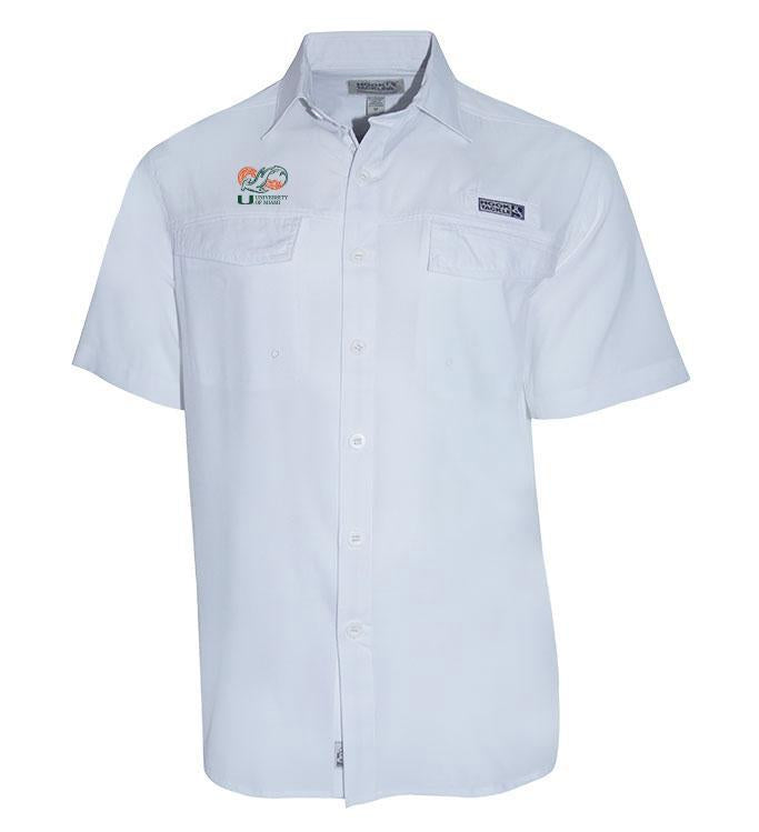 Miami Hurricanes Shark Research Coastline S/S Fishing Shirt - White