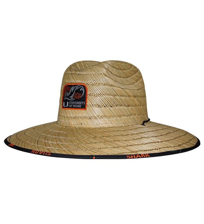 Miami Hurricanes Shark Research Lifeguard Stretch Fit Premium Fishing Straw Hat