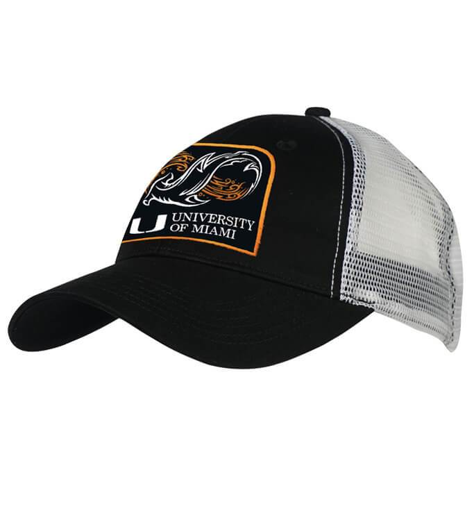 Miami Hurricanes Shark Research Fishing Trucker Hat - Black