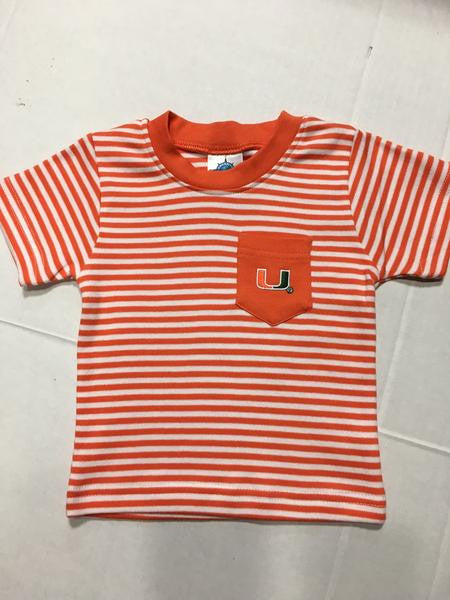 Miami Hurricanes Toddler Striped Pocket T-Shrit