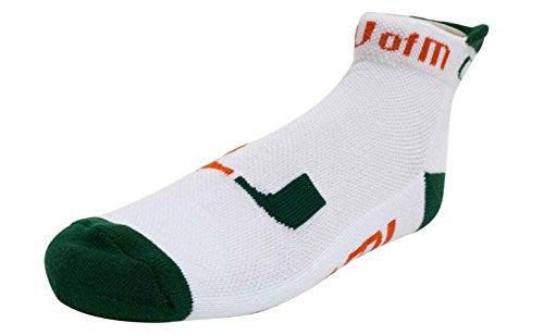 Miami Hurricanes White Footie Socks - CanesWear at Miami FanWear Footwear & Socks Donegal Bay CanesWear at Miami FanWear