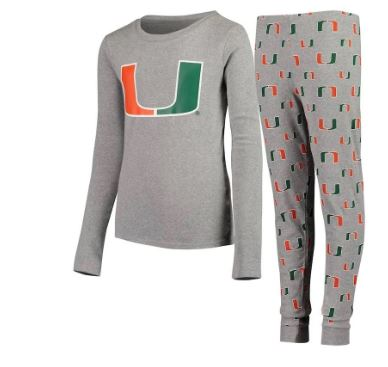 Miami Hurricanes Kid's Long Sleeve T-Shirt and Pajamas Pant Sleep Set
