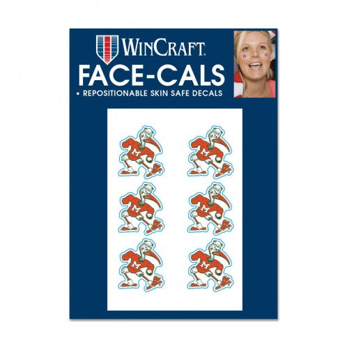 Miami Hurricanes Ibis Face Decals - 6 Pack