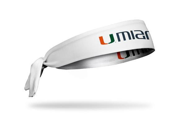Miami Hurricanes U Miami Tie Headband - White