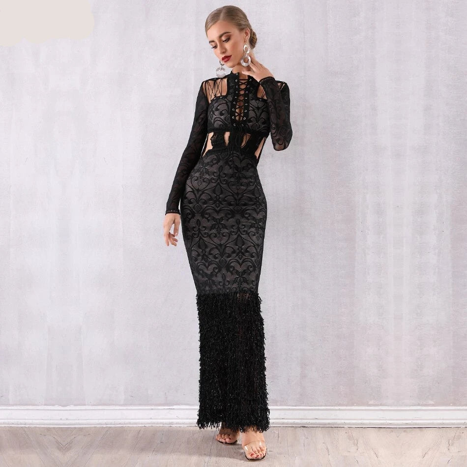 Bandage Lace Hollow Out Mermaid Maxi Dress