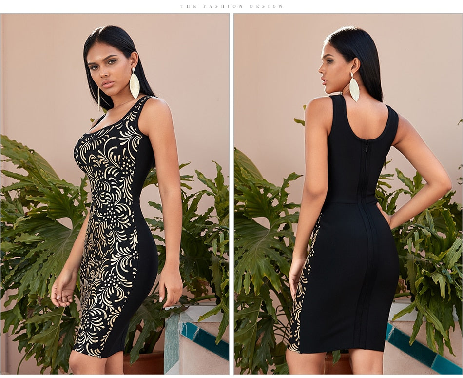 Sleeveless Body Con Bandage Mid Dress
