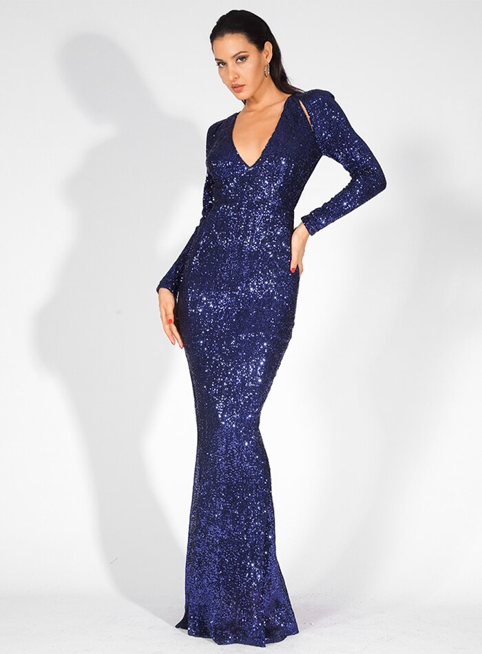 Deep V-Neck Cut Out Pleated Sequin Fishtail Maxi Dress