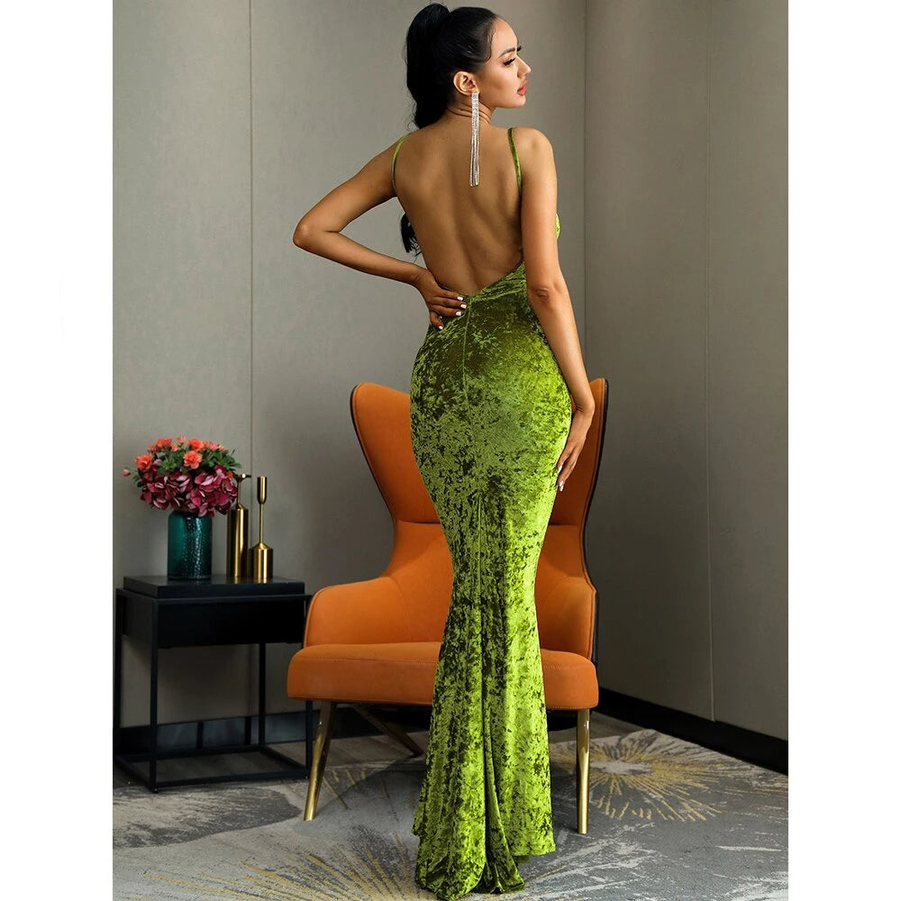 Deep V-Neck Open Back Velvet Fishtail Shape Maxi Dress