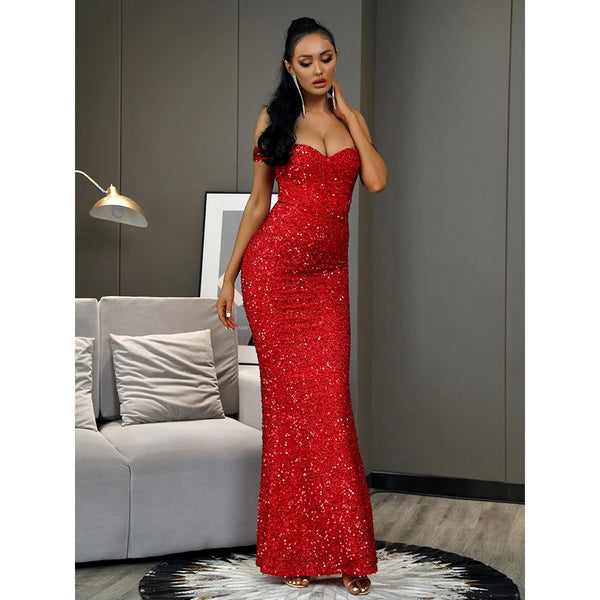 Strapless Sequin Bodycon Fishtail Maxi Dress