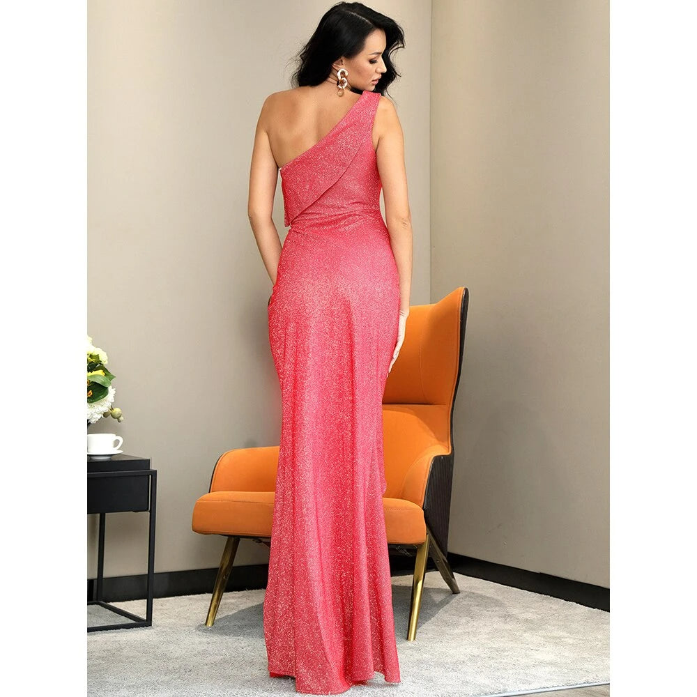 Lapel Neck Split Sleeveless Maxi Dress