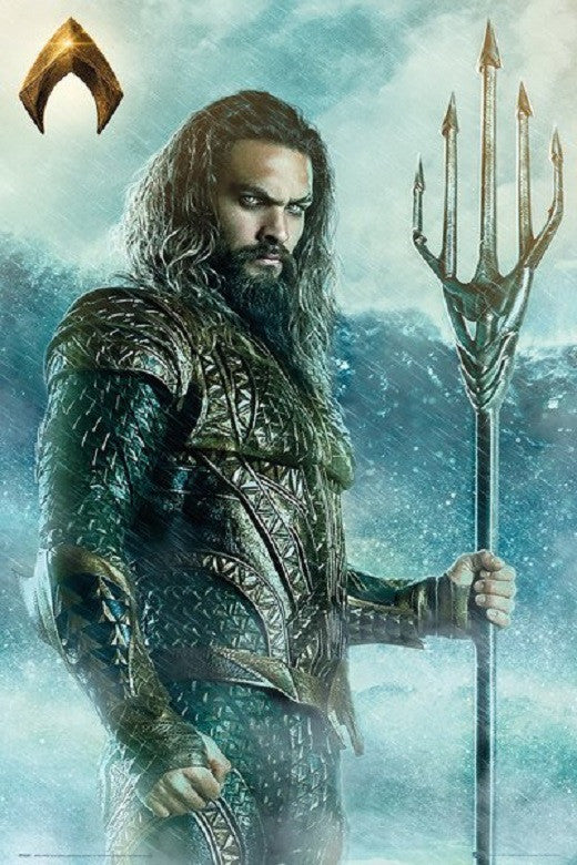 Aquaman With Trident Jason Momoa Movie Poster, Size 24x36