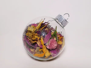 Dried Flower Christmas Ball Ornament, Glass Globe Tree Decoration