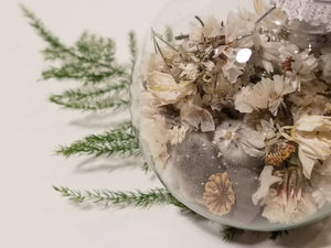 White Dried Flower Christmas Ball Ornament, Glass Globe Tree Decoration
