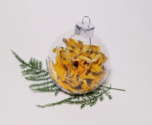 Yellow Dried Flower Christmas Globe Ornament Tree Decoration