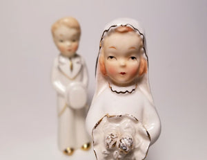 Vintage Wedding Cake Topper, Bride and Groom Figurines