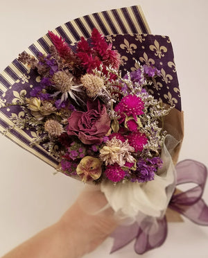 Mini Dried Flower Wrapped Bouquet - Purple Flowers