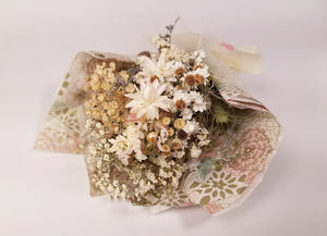 Mini Dried Flower Wrapped Bouquet - White Flowers