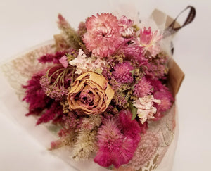 Mini Dried Flower Wrapped Bouquet - Pink Flowers