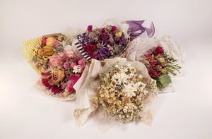 Mini Dried Flower Wrapped Bouquet - Yellow & Coral Flowers