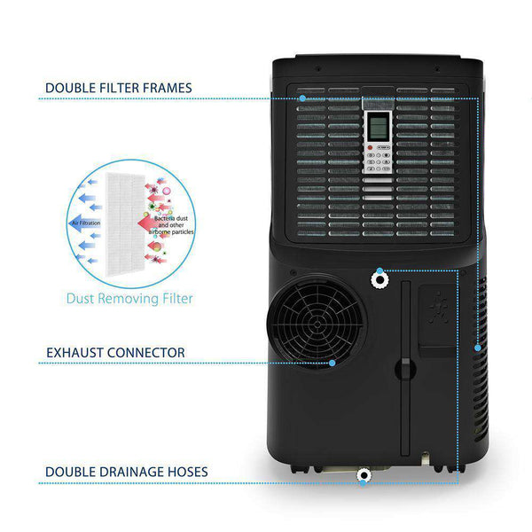 JHS A018-12KR/C 12,000 BTU Portable Air Conditioner with Dehumidifier and Remote White New