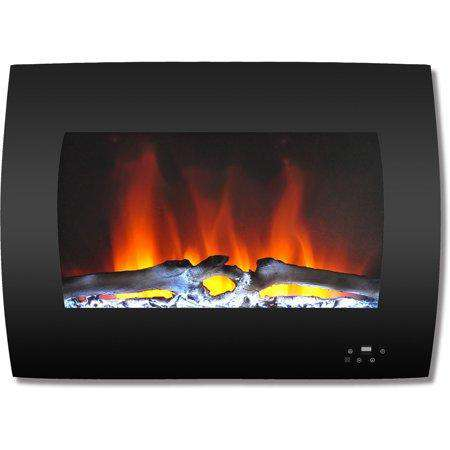 Cambridge CAM26WMEF-2BLK 26 Inch Curved Wall-Mount with Multi-Color LED Flames and Driftwood Log Black New