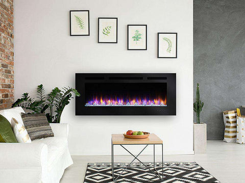 Hearth & Home SimpliFire Allusion SF-ALL60-BK Linear Wall Mount 60 Inch Electric LED Fireplace New